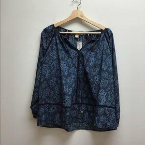 Micheal Kors Blue 3/4 Sleeve Top XS